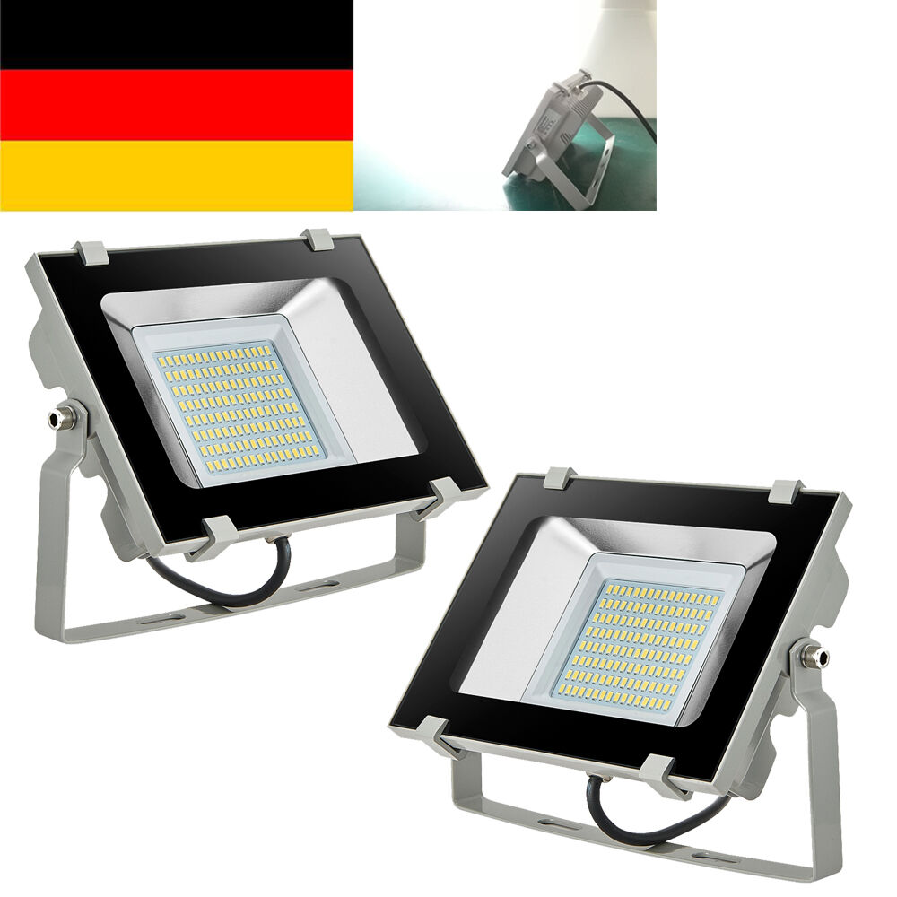 2x 50w kaltwei d5 led fluter au en strahler lampe flutlicht scheinwerfer 230v eur 44 99. Black Bedroom Furniture Sets. Home Design Ideas