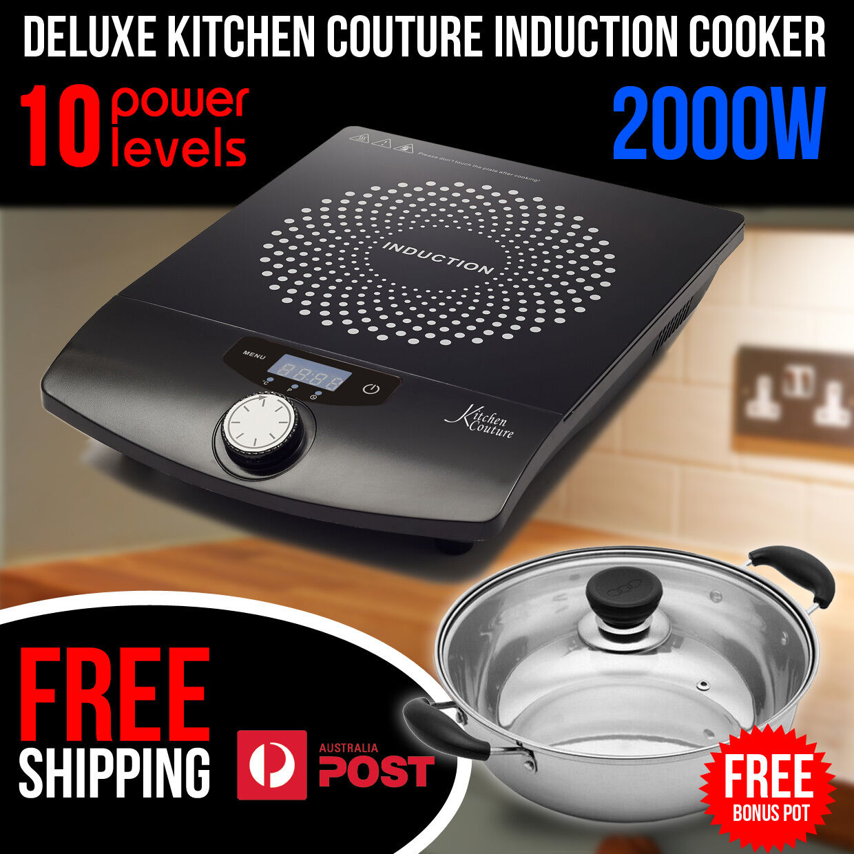 Kitchen Couture Portable 2000w Electric Ceramic Induction