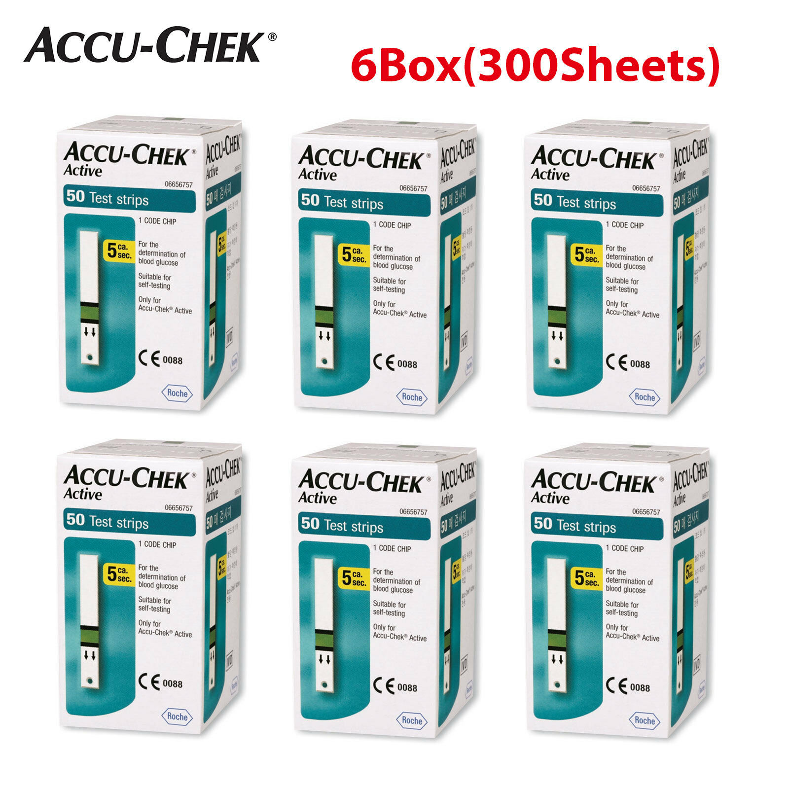 Accu Chek Active Blood Glucose Test Strips 50x6 300sheets Exp Strip Check Roche 10 1 Of 4free Shipping