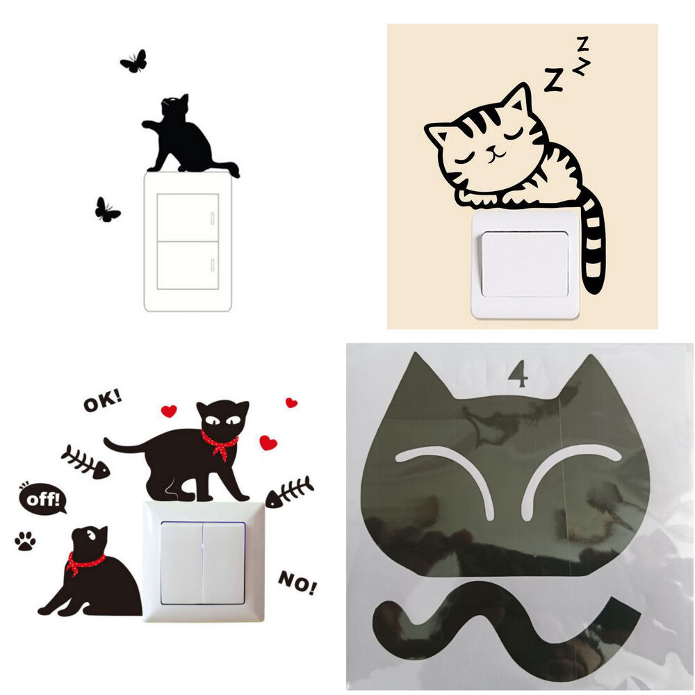stickers interrupteur motif chat chambre d 39 enfant etc eur 1 99 picclick fr. Black Bedroom Furniture Sets. Home Design Ideas