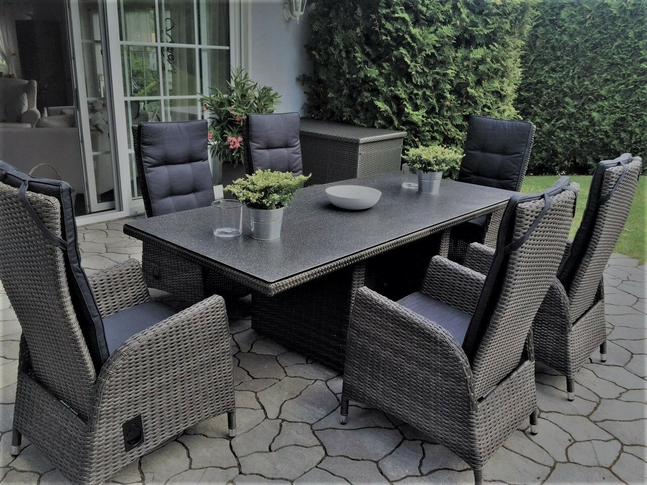 gartengarnitur polyrattan sitzgruppe gartenset gartenm bel verstellbar neu eur. Black Bedroom Furniture Sets. Home Design Ideas