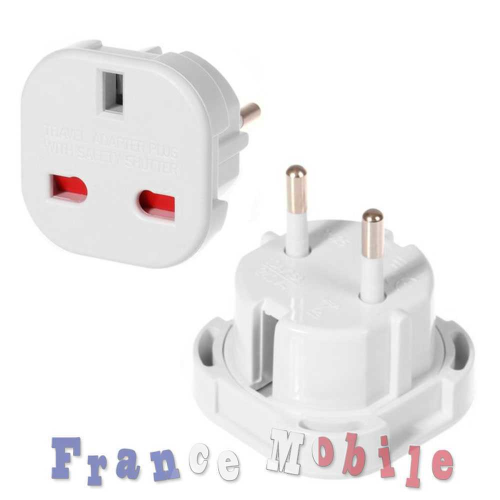 adaptateur secteur prise anglaise uk vers fr france europe voyage adapter white eur 1 00. Black Bedroom Furniture Sets. Home Design Ideas