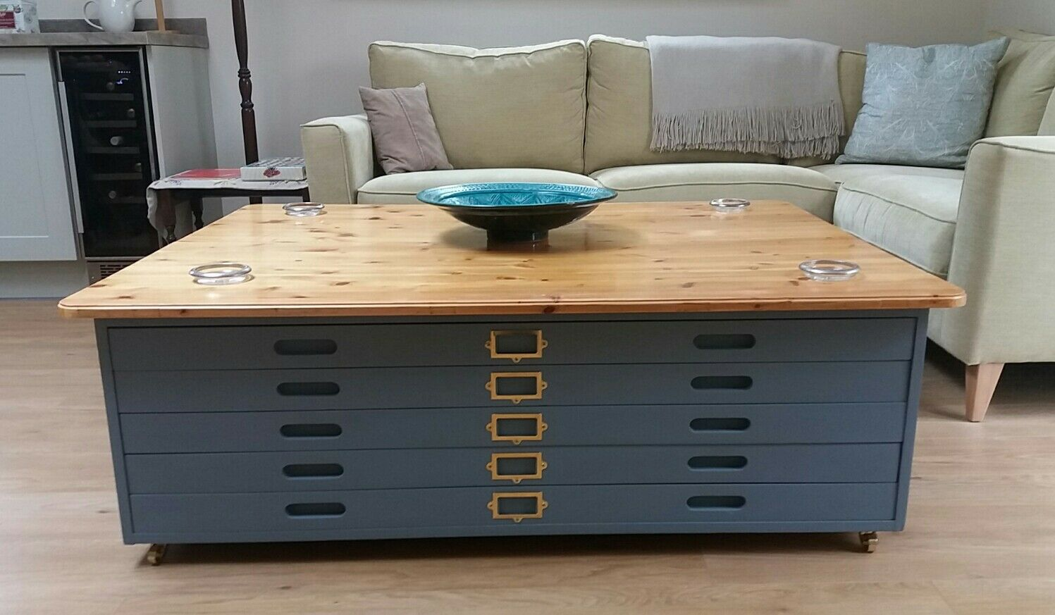 Vintage architects plan chest of drawers coffee table gbp for Coffee table chest with drawers
