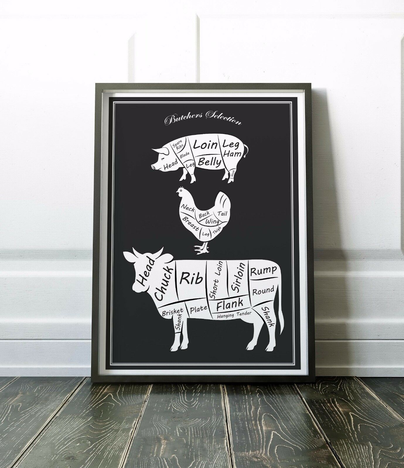Butchers kitchen wall art print black and white kitchen for Black kitchen wall decor