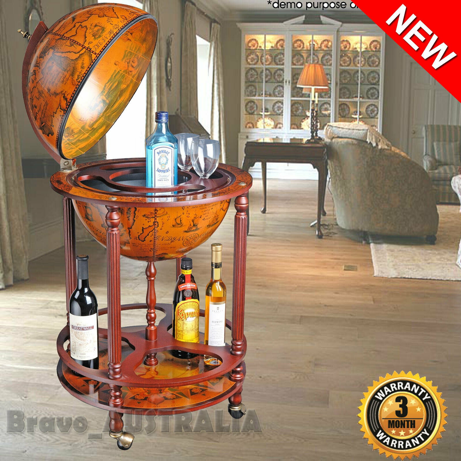 Deluxe Antique Globe Alcohol Cabinet Mini Bar Drinks Serving Trolley Luxury Gift