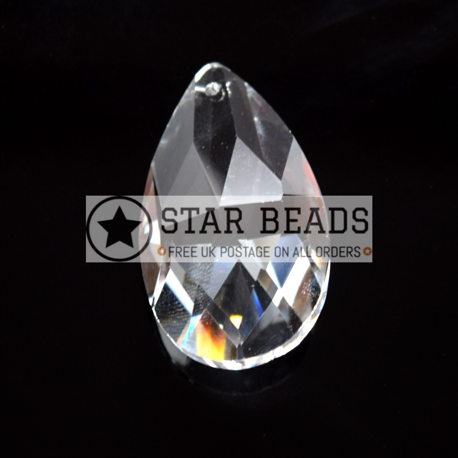 2 X Faceted Glass Crystal Clear 38mm Teardrop Chandelier