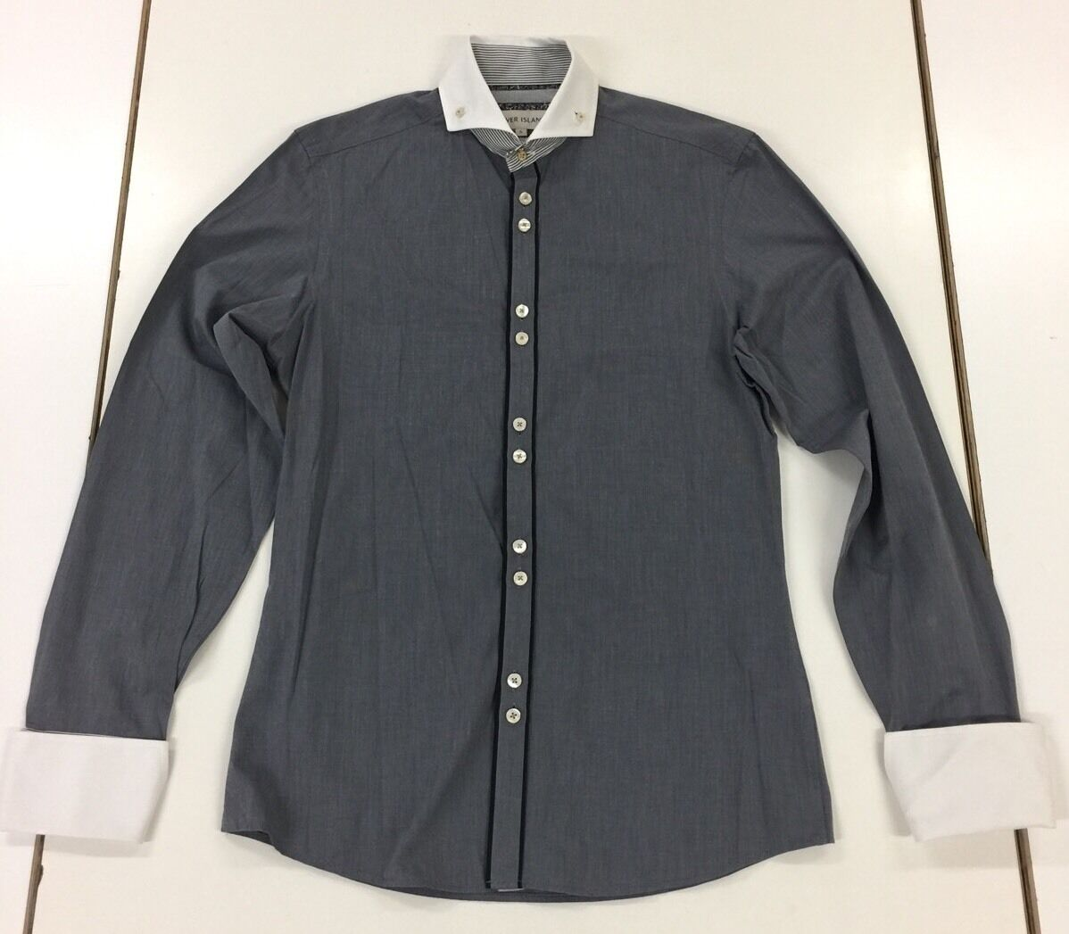 Mens river island button down collar grey shirt with white for Mens grey button down dress shirt