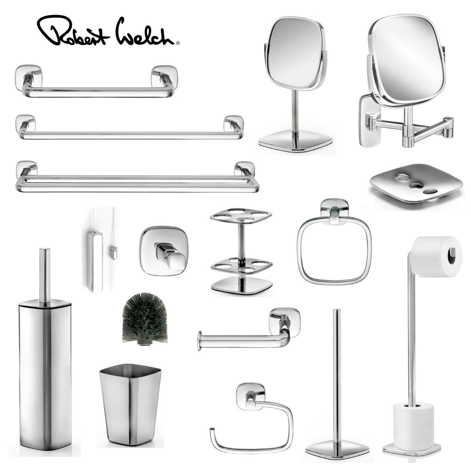 ROBERT WELCH BURFORD Bathroom Range - Mirrors Toilet Roll Holders ...