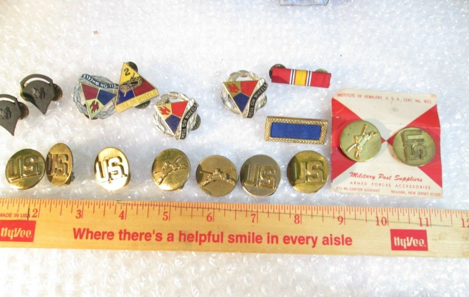 Vintage US Military brass lot Hell on Wheels  Metal,s  lot