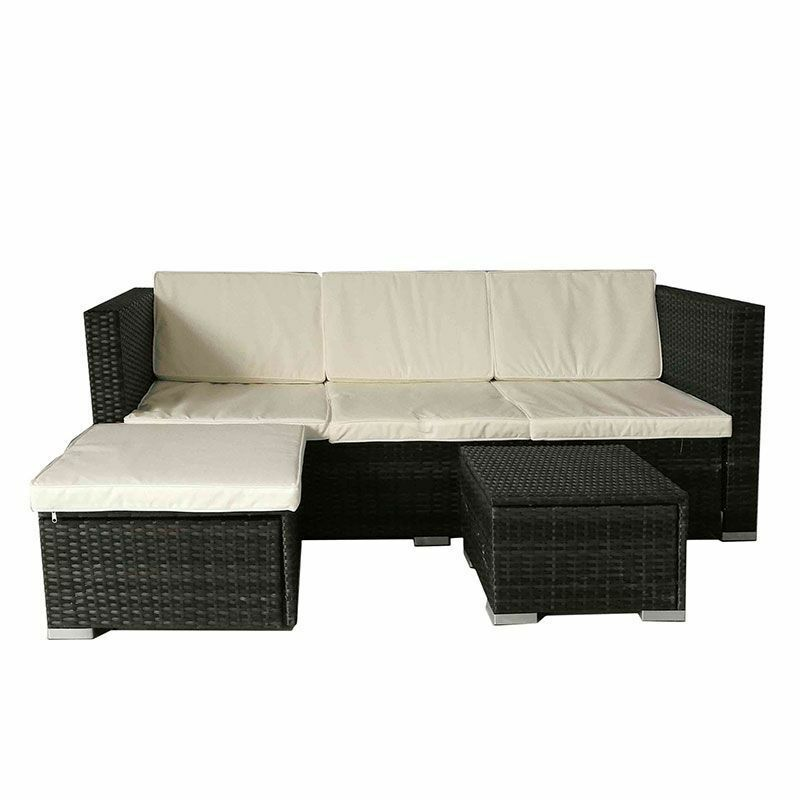 Rattan Corner Sofa Set Black Brown Garden Furniture With Side Table Stool Sale