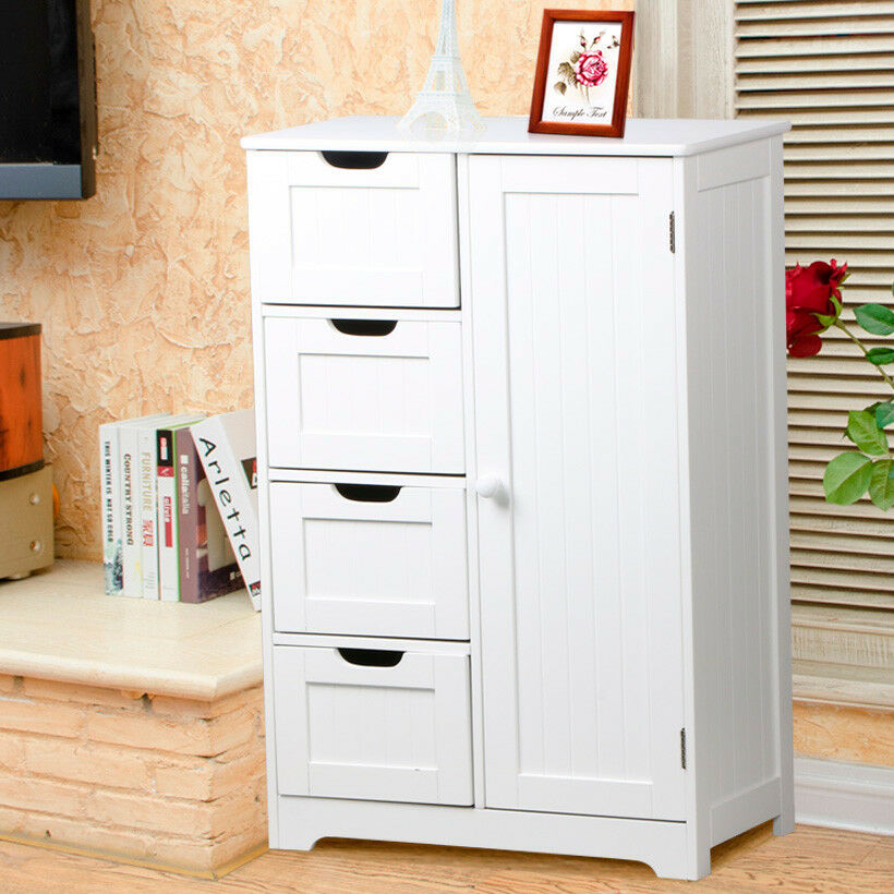 White wooden bathroom cabinet 4 storage drawers 2 shelves for White wooden bathroom drawers
