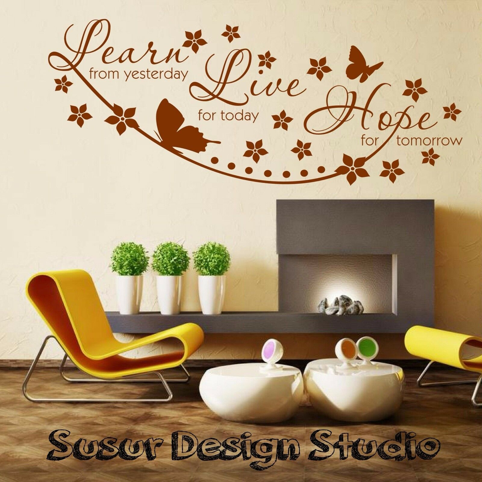 Wall stickers quotes learn live hope wall quote vinyl wall for Wall mural quotes