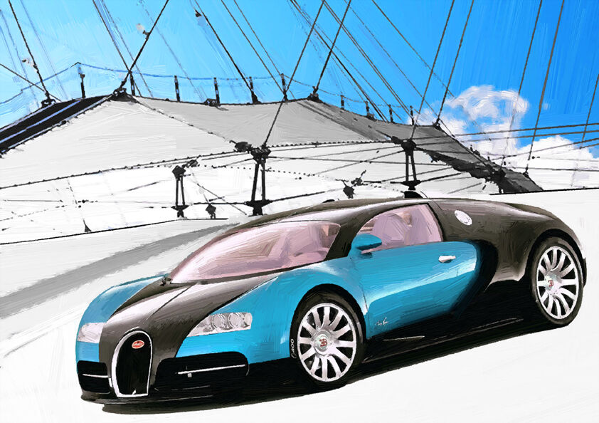 automotive art bugatti veyron hand finished limited edition 25 picclick uk. Black Bedroom Furniture Sets. Home Design Ideas