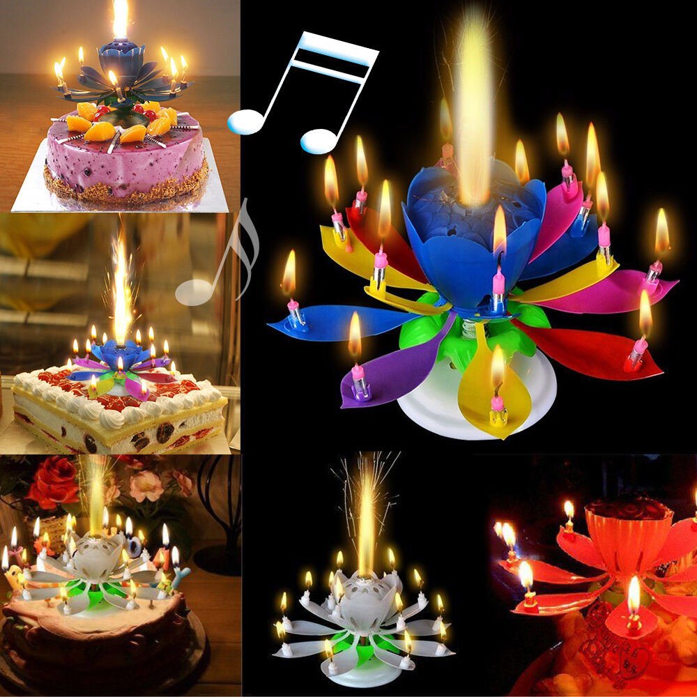 Blossom Lotus Flower Double Deck Rotating Birthday Candle Magic