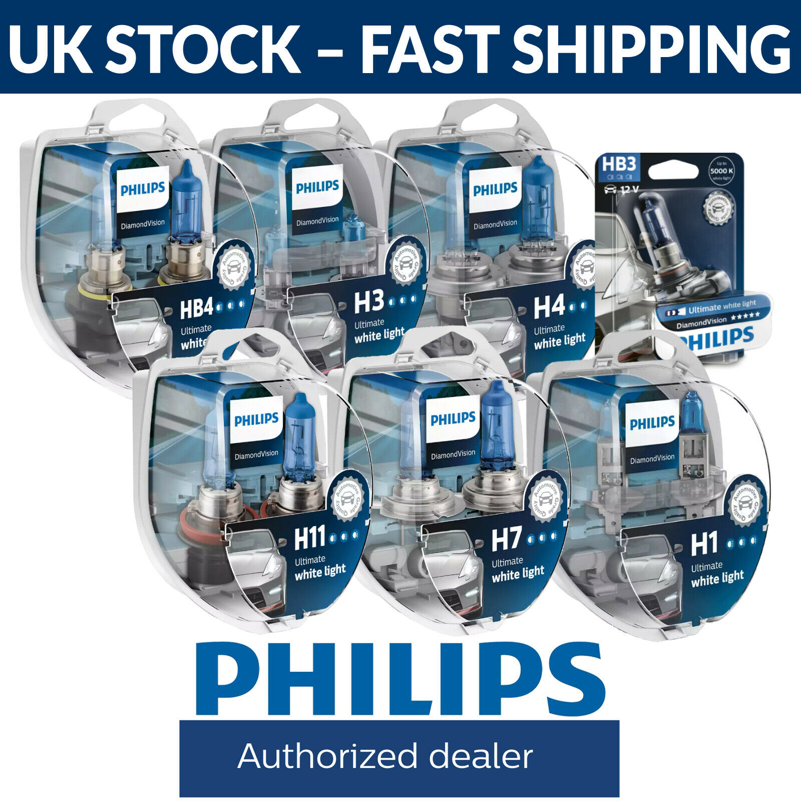 philips diamond vision upgrade headlight bulbs h1 h3 h4 h7. Black Bedroom Furniture Sets. Home Design Ideas