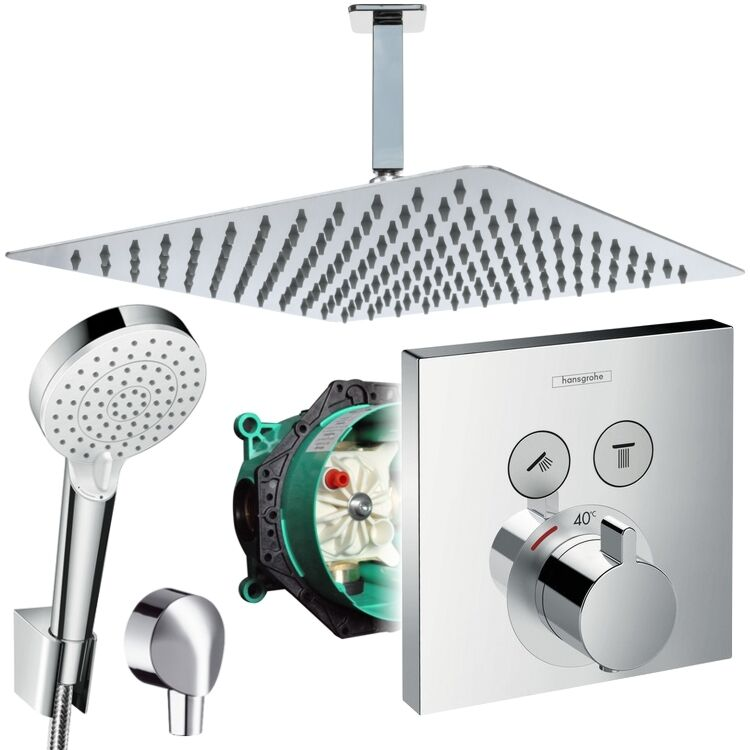 unterputz duschsystem mit kopfbrause 300x300 hansgrohe shower select thermostat eur 507 30. Black Bedroom Furniture Sets. Home Design Ideas