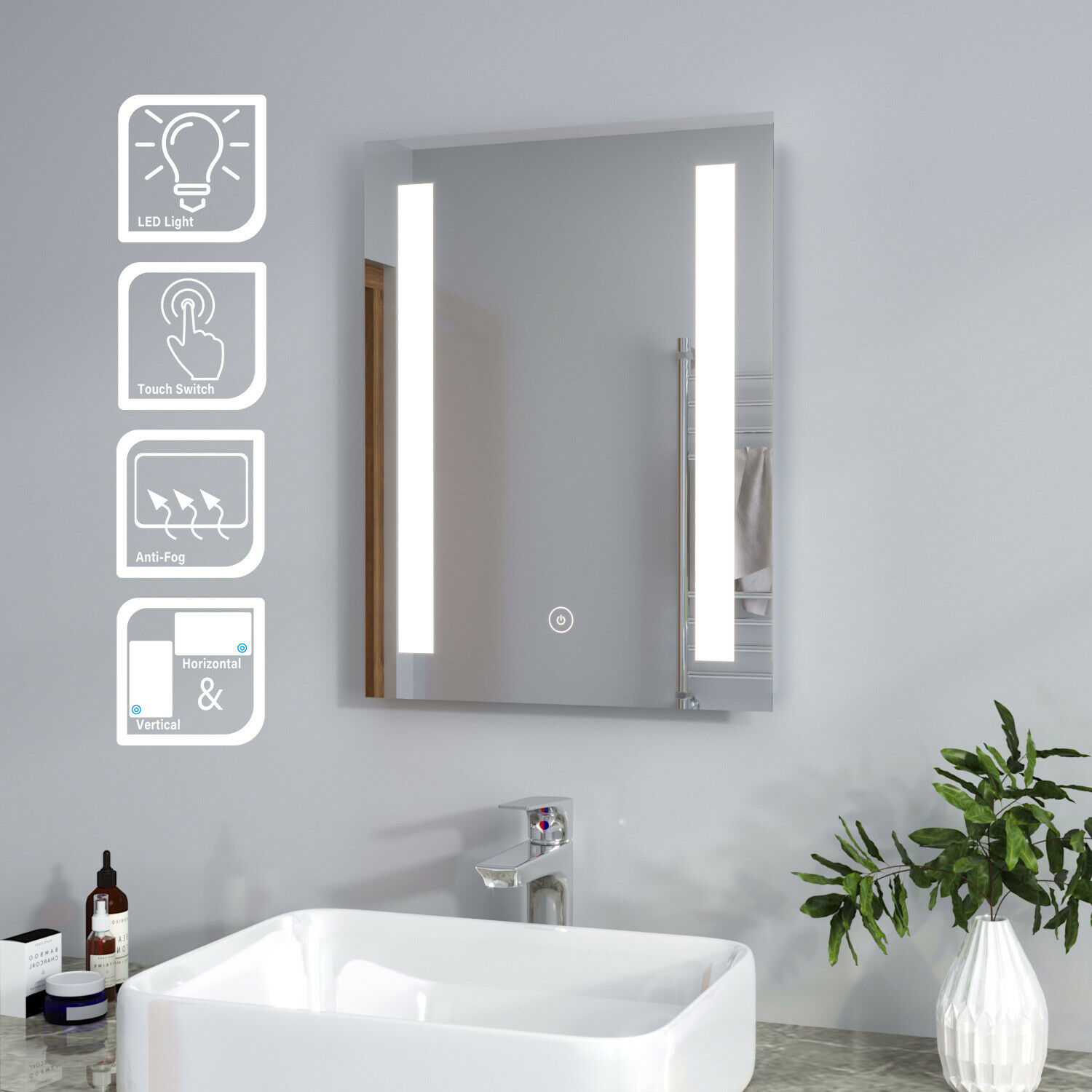 Bathroom Mirror Storage Cabinet Stainless Steel Double Door Shelf Wall Mounted