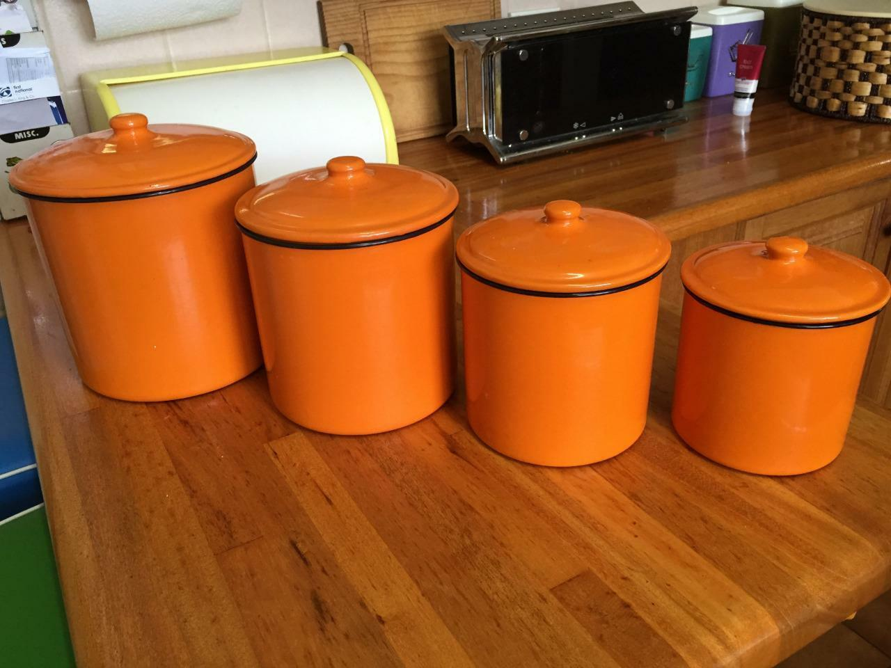 orange storage jars kitchen retro canisters kitchen storage orange tin metal vintage 3766
