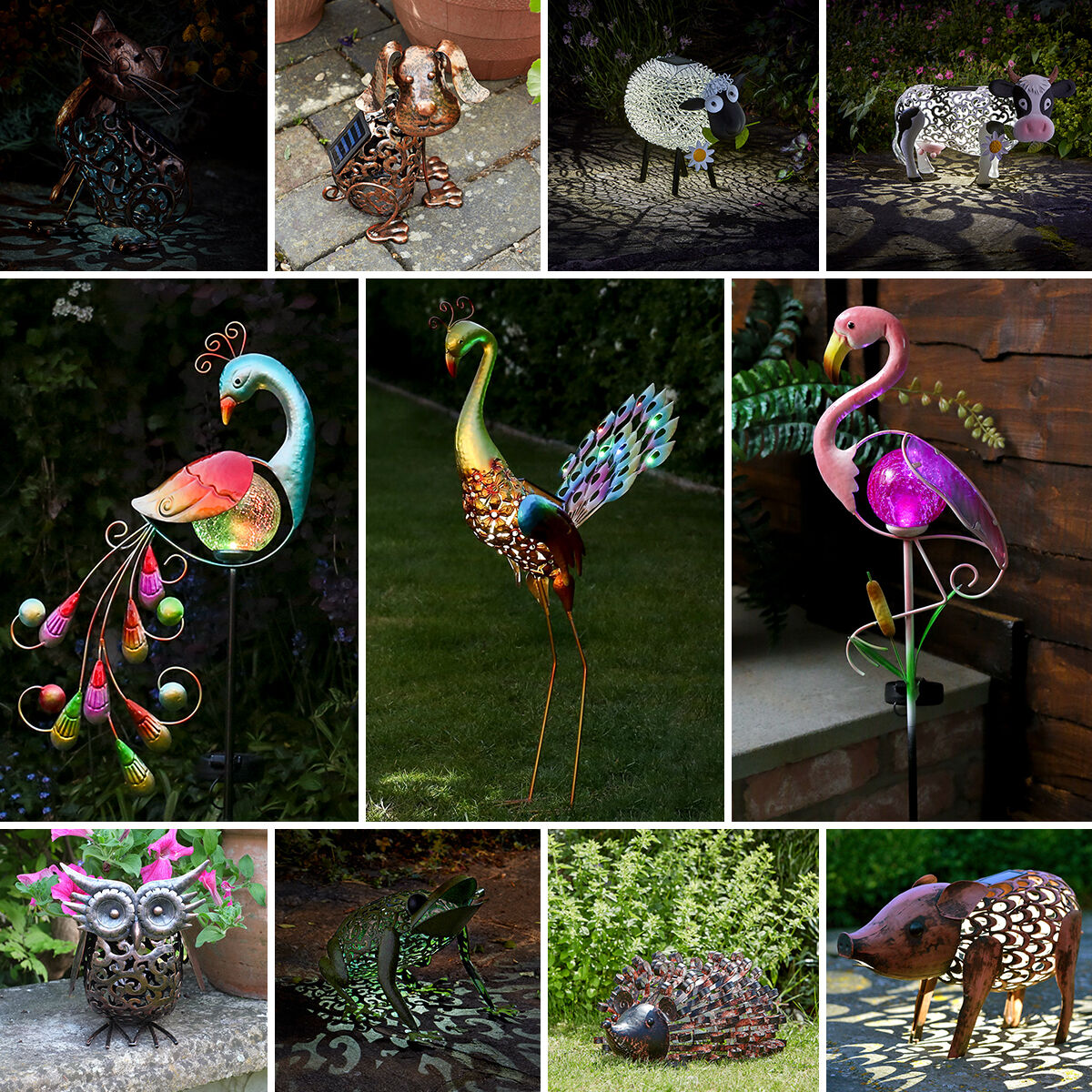 Solar powered outdoor garden ornament path novelty bird for Outdoor lighted ornaments