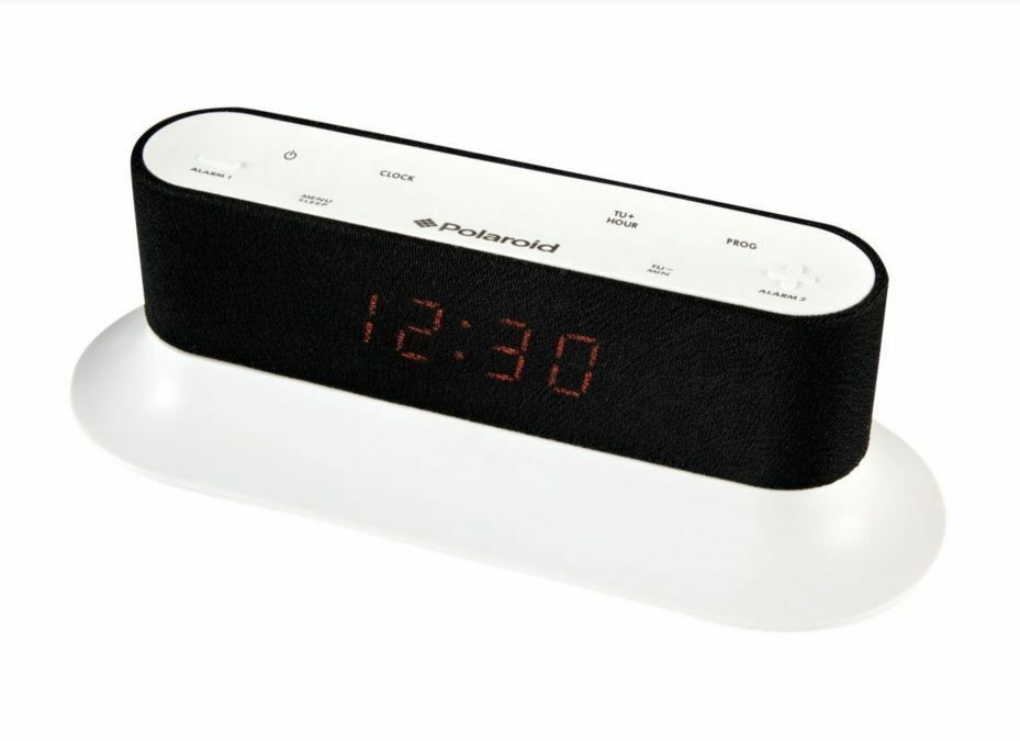 polaroid white dual alarm clock fm radio bedside with. Black Bedroom Furniture Sets. Home Design Ideas