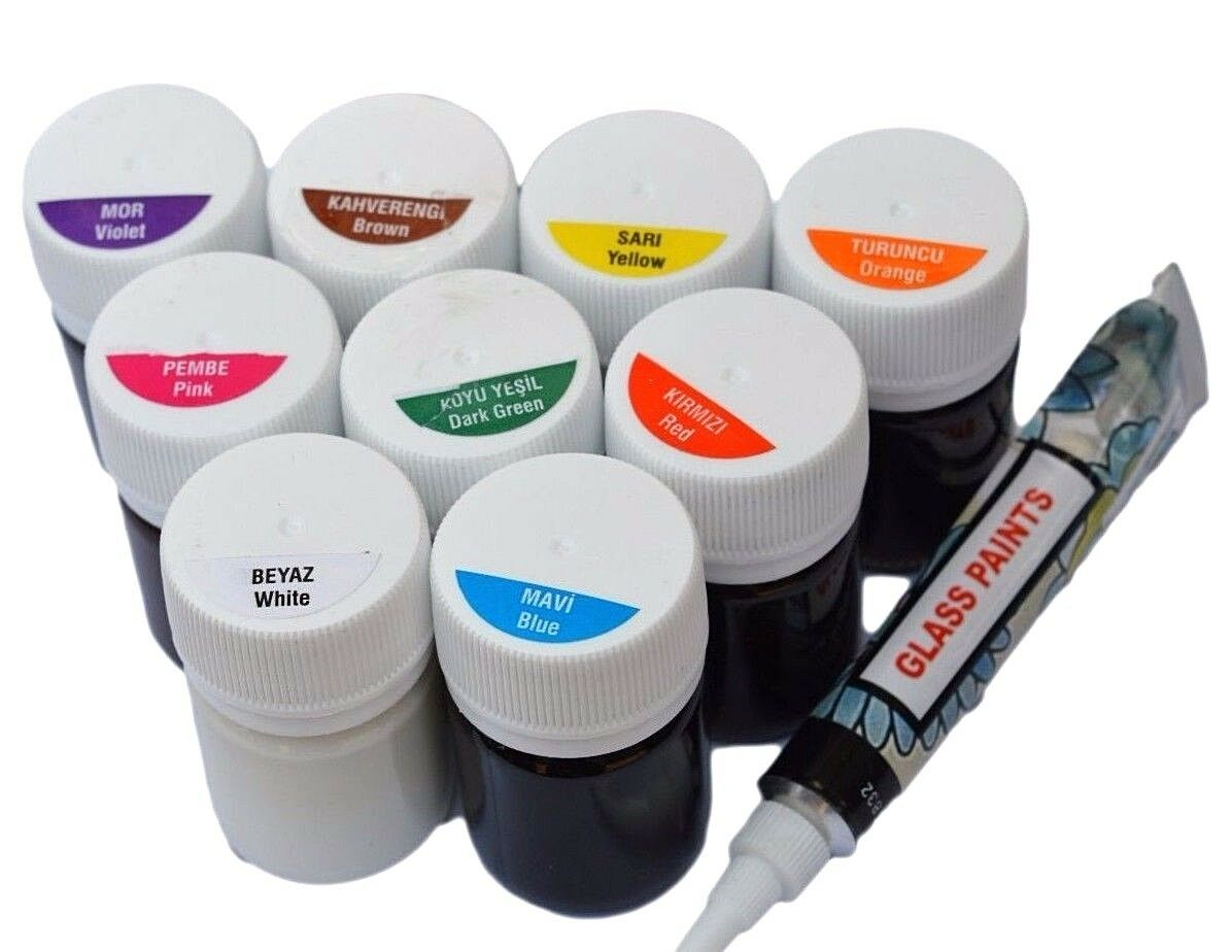 9 solvent glass paint set outliner transparent opaque for Solvent based glass paint