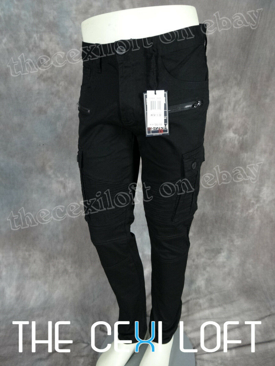 Mens Bleecker Mercer Moto Style Biker Cargo Jeans Black Twill Zip Ripped Faded 1 Of 7 See More