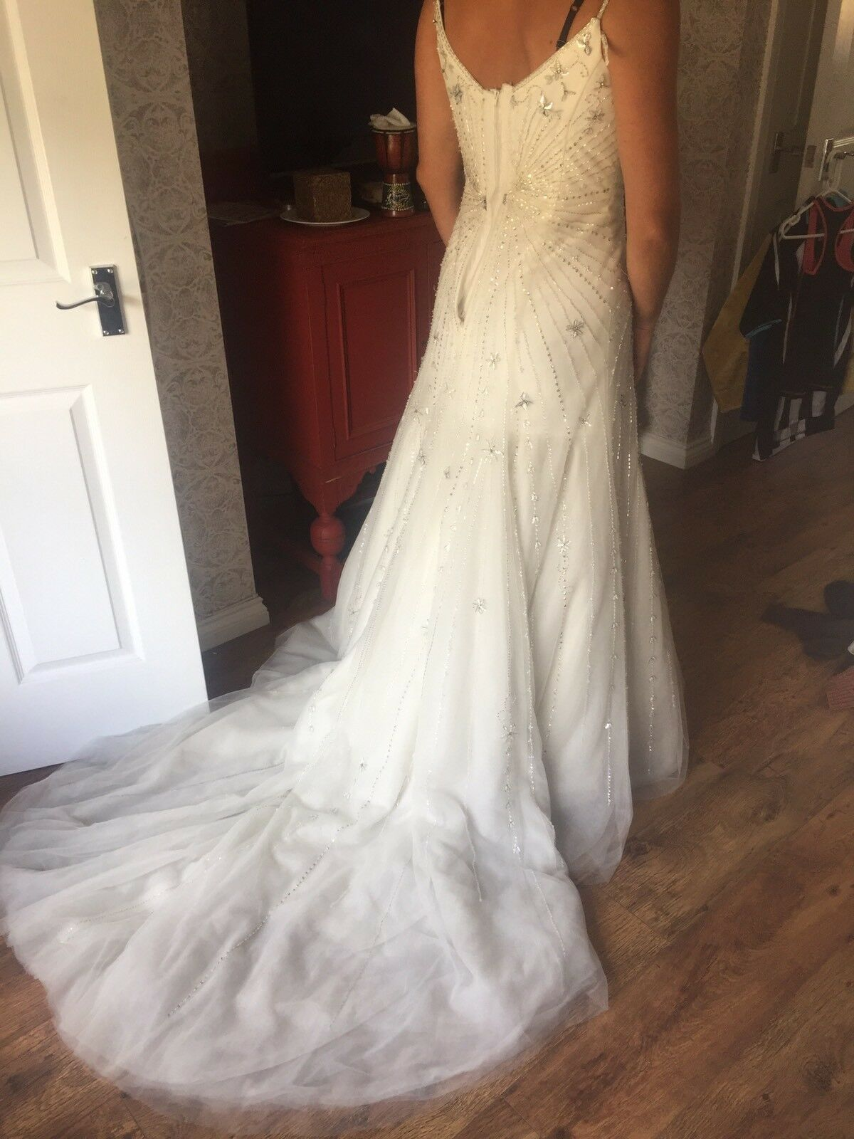 Size 12 vintage forever yours wedding dress with long for Forever yours wedding dress