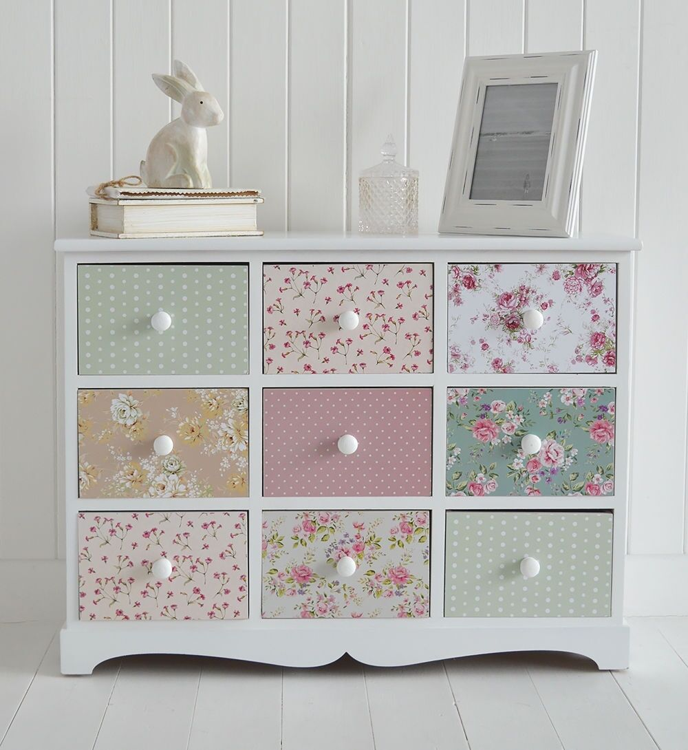 shabby chic chest of drawers sideboard girls bedroom furniture white pink. Black Bedroom Furniture Sets. Home Design Ideas