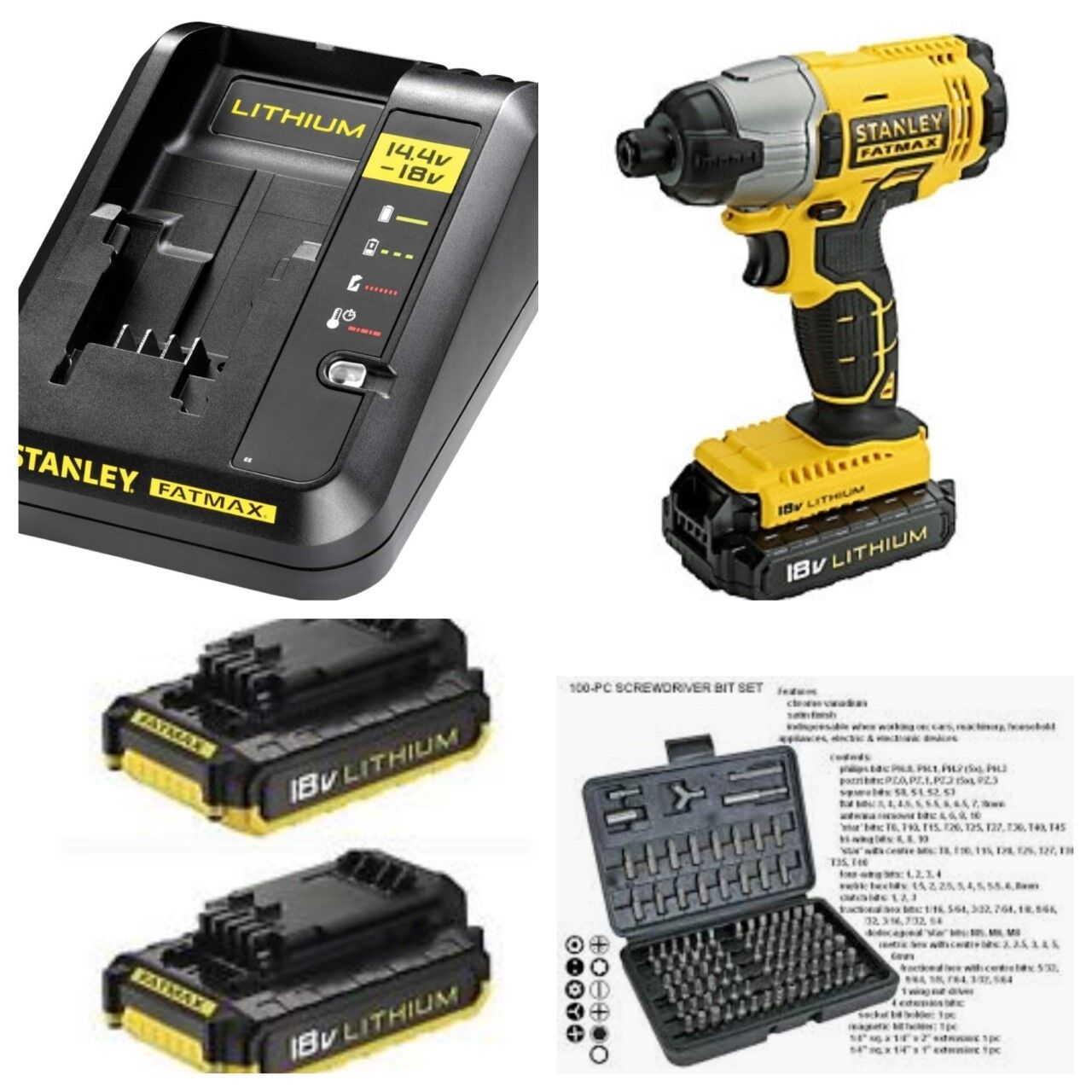 Stanley Fatmax 18v Impact Driver X2 Batteries Fast Charger In Heavy Brushless 1 Of 1free Shipping