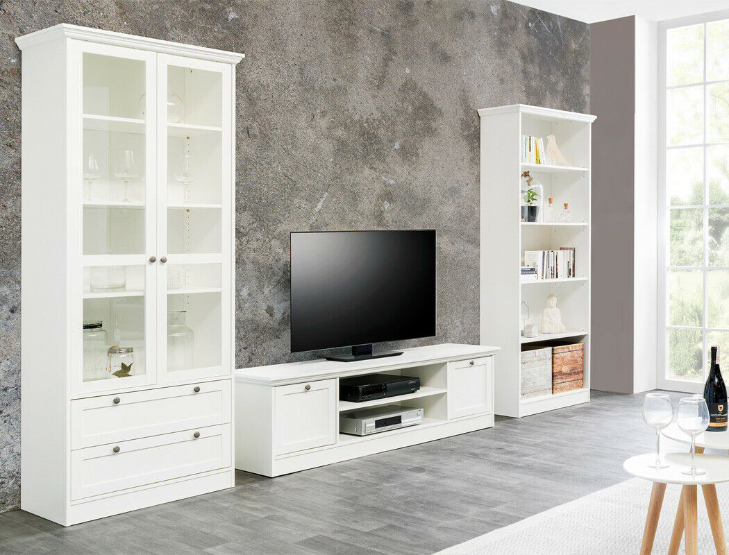 wohnwand wei 3 teilig lowboard vitrine b cherregal. Black Bedroom Furniture Sets. Home Design Ideas