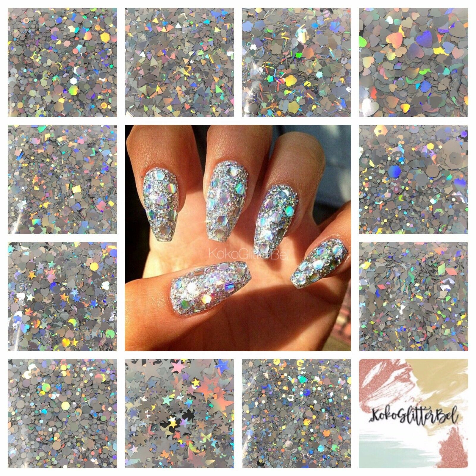 SILVER RAINBOW HOLOGRAPHIC Holo Glitter Mix Chunky Hex Dot Star Nail ...