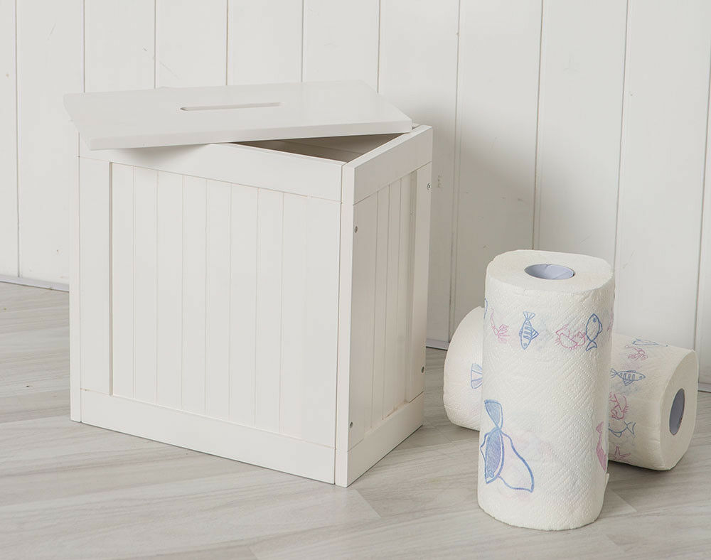 Small Wooden Groove Cabinet Storage Box Unit With Lid Bathroom White 1 Of 4free Shipping