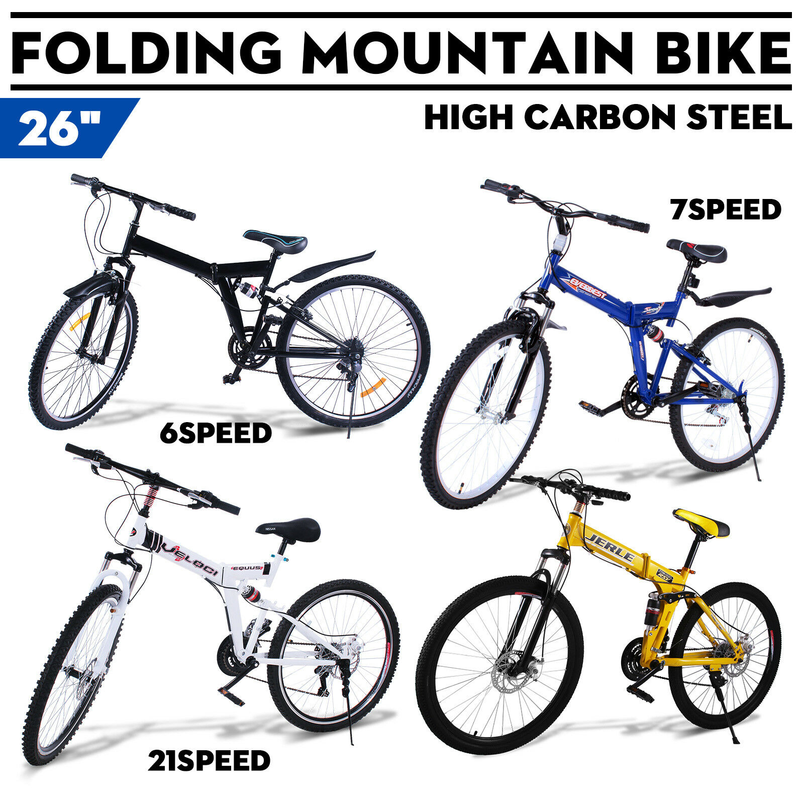 26 zoll klapprad mountainbike mtb fahrrad 6 7 21 gang full. Black Bedroom Furniture Sets. Home Design Ideas
