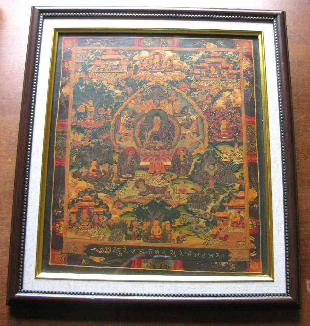 altes thangka bild hinter glas mit holzrahmen aus dem tantrischen buddhismus eur 119 00. Black Bedroom Furniture Sets. Home Design Ideas