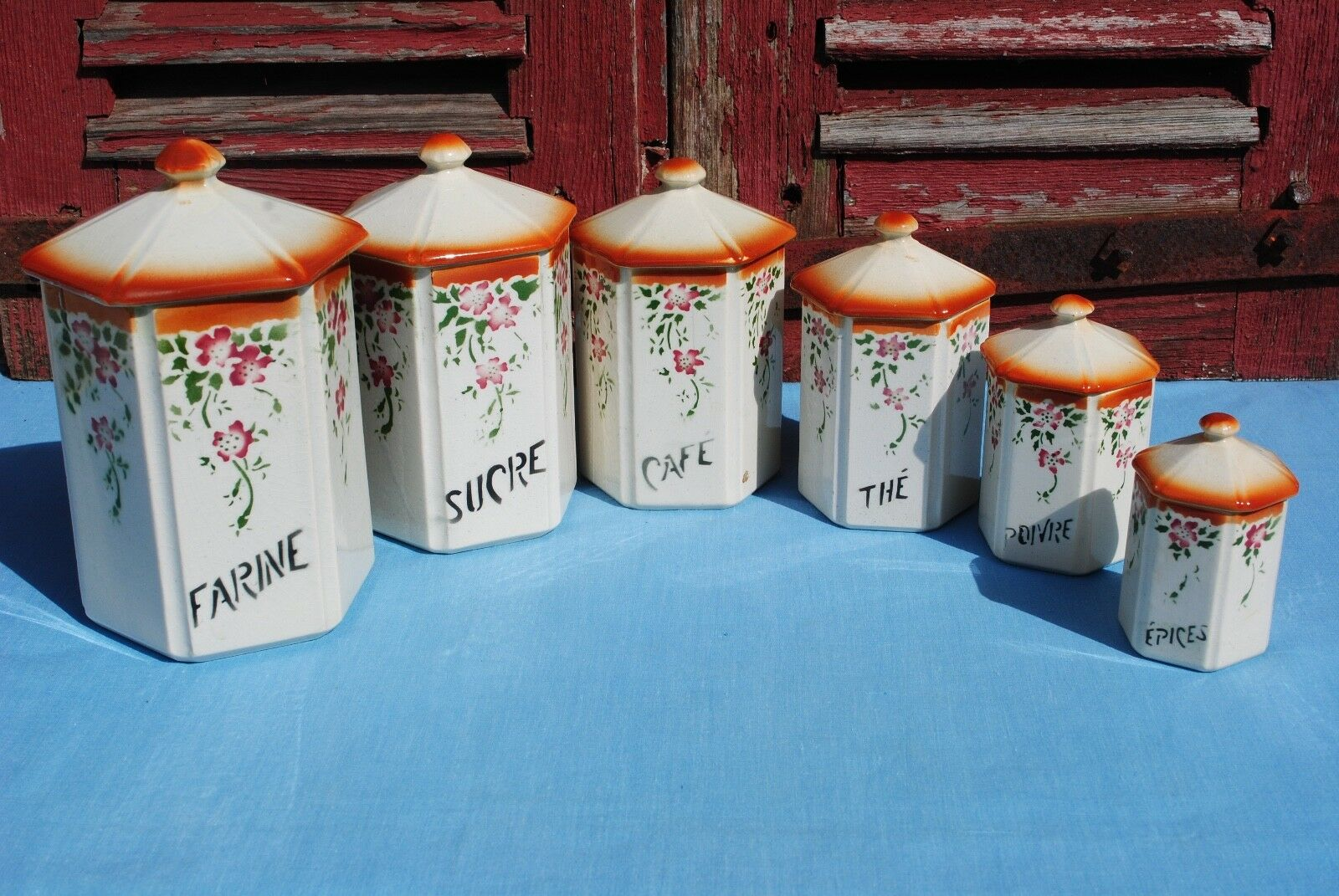 VINTAGE SET 6 French Rustic Hexagonal Ceramic Kitchen Canisters ...