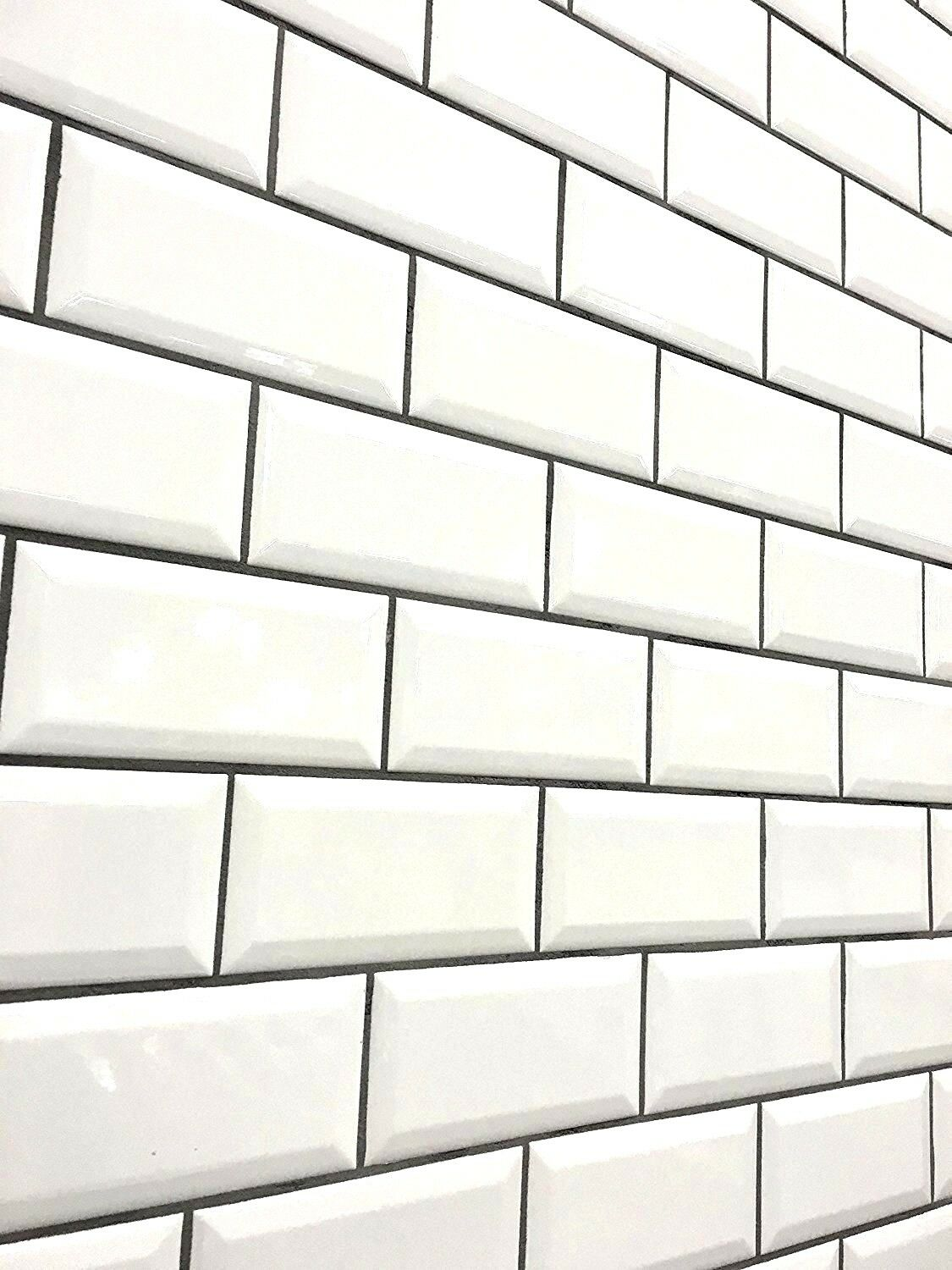 White 3x6 Beveled Shiny Glossy Ceramic Subway Tile Backsplash Wall