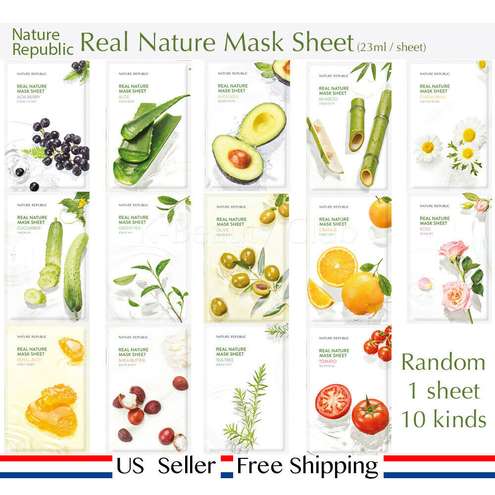 Nature Republic Real Mask Sheet 14kinds Choose One And More 5 Holika Pure Essence Avocado 1 Of 5free Shipping