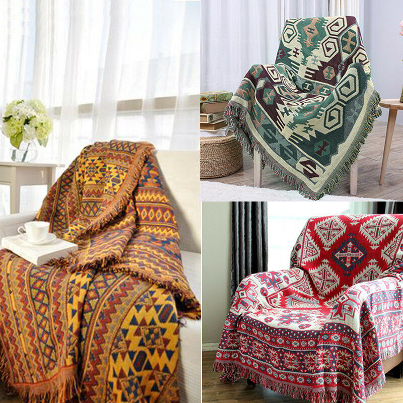 Bohemian Throw Blankets Delectable THICK COTTON KNITTED Blanket Throw Tribal Bohemian Ethnic Sofa