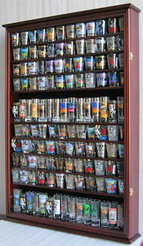 Large 144 Shot Gl Display Case Wall Holder Cabinet Shadow Box 1 Of 1free Shipping See More