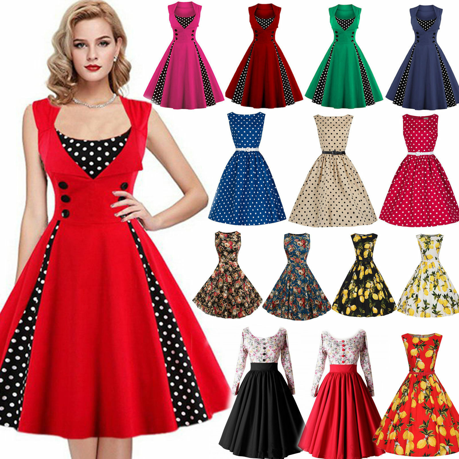 damen rockabilly 50er swing kleid petticoat vintage hepburn party cocktailkleid eur 3 49. Black Bedroom Furniture Sets. Home Design Ideas