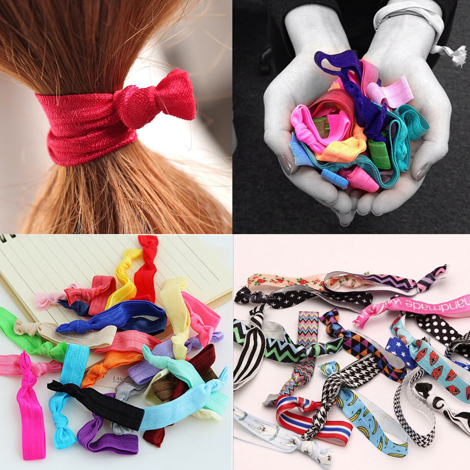 10pcs Girl Elastic Hair Ties Rubber Band Knotted Hairband Ponytail 1 Of 4only 5 Available