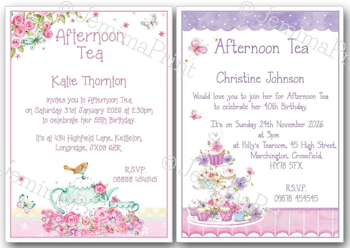 PERSONALISED AFTERNOON TEA Birthday Invites 30th 40th 50th 60th 70th ...