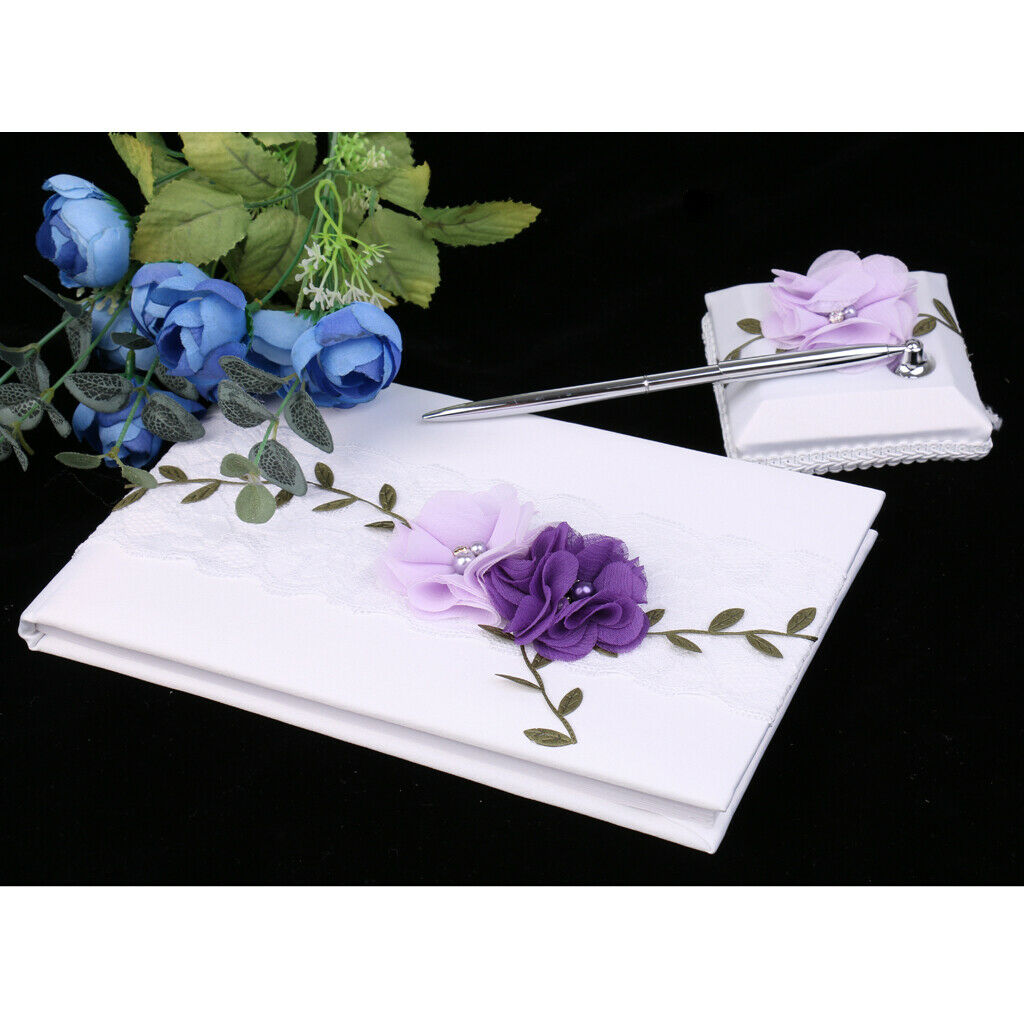 Wedding Guest Book White Lace Purple Flowers Signing Book Party