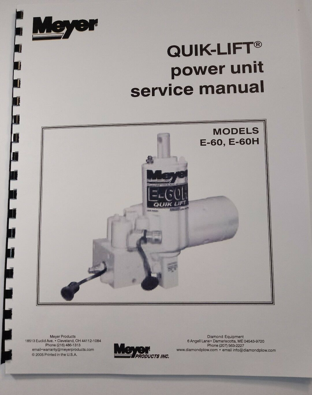 Meyer Snow Plow Pump Service Manual E60 H Models Full Color E58h Wiring Diagram Comb Bound 1 Of 4free Shipping
