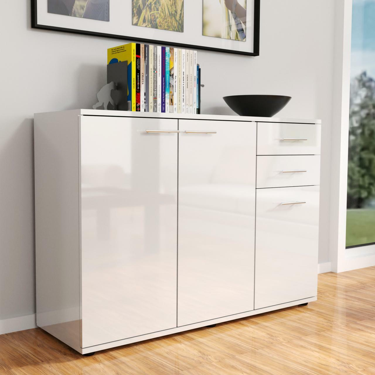 hochglanz kommode modern sideboard highboard mehrzweckschrank anrichte weiss eur 92 99. Black Bedroom Furniture Sets. Home Design Ideas