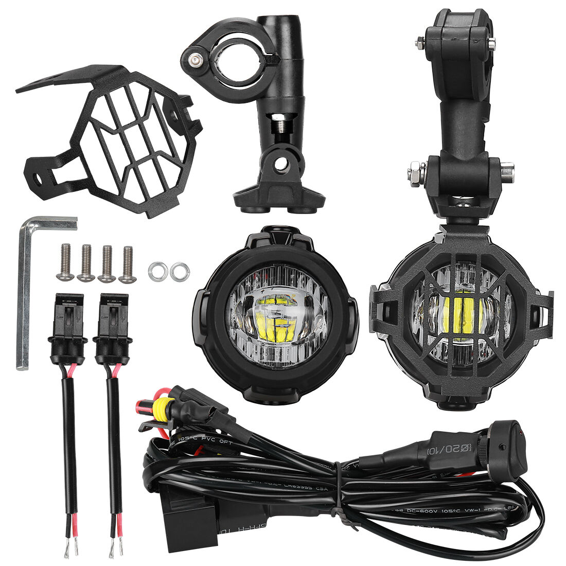 Bmw Motorcycle Wiring Harness Diagram Sample Head Unit 2x Led Auxiliary Fog Light Protector Cover For Radio