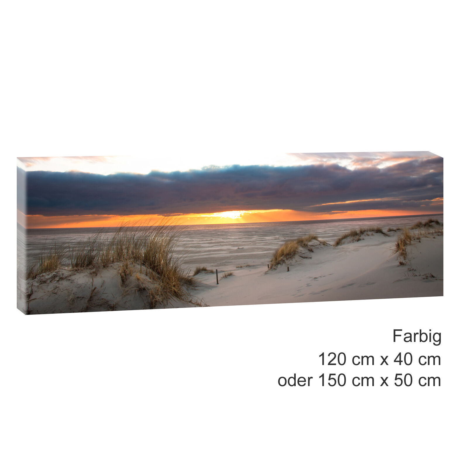 sonnenuntergang bild strand meer keilrahmen leinwand poster xxl 120 cm 40 cm 483 eur 24 50. Black Bedroom Furniture Sets. Home Design Ideas