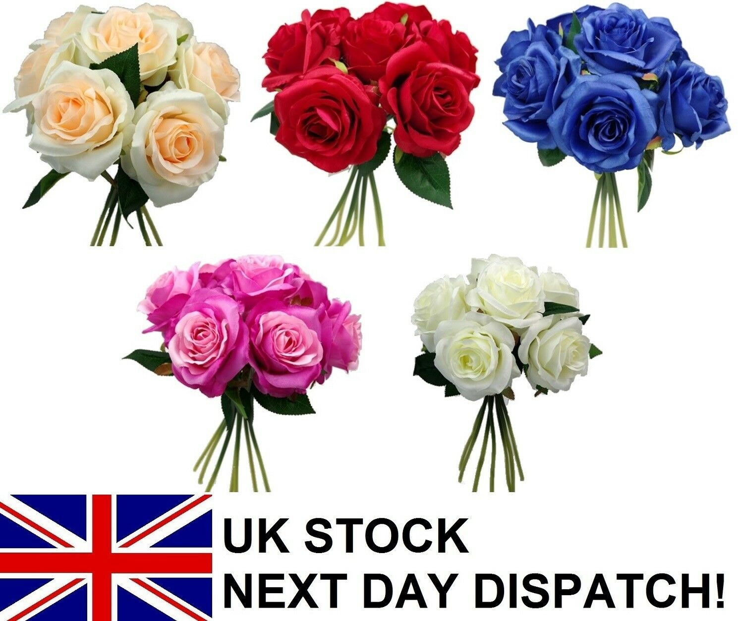 35cm Large Artificial Open Rose Bouquet Silk Flowers Head Floral