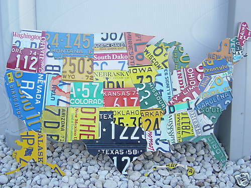 USA LICENSE PLATE MAP- METAL WALL ART- ALL 50 STATES- (Pub Bar Art on map of usa map, map of usa rainbow, map of usa baseball, map of usa color, map of usa flag, map of usa lights, map of usa time, map of usa driving, map of usa state,