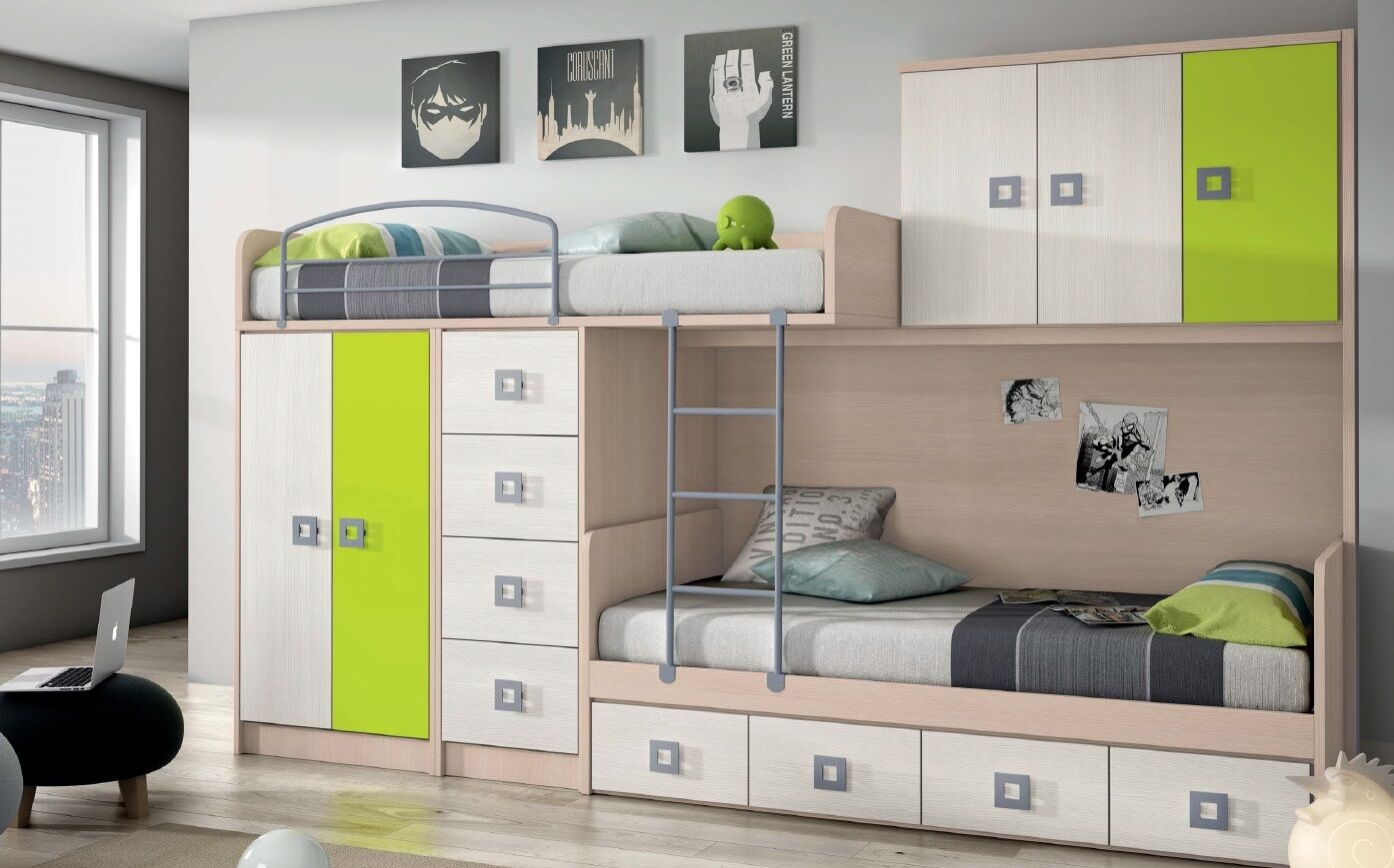 design kinderzimmer mit hochbett stockbett kleiderschrank individuell bunt eur. Black Bedroom Furniture Sets. Home Design Ideas